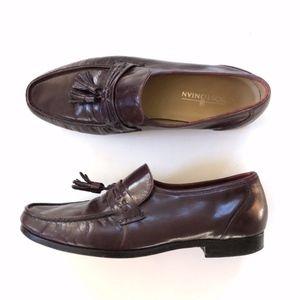 Bostonian Brown Burgundy Leather Tassel Loafers